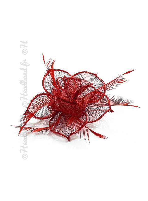 Barrette fleur pour cérémonie rouge