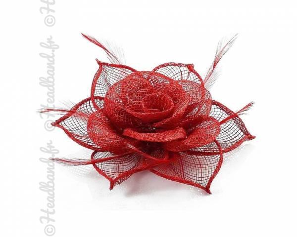 Barrette fleur rouge cocktail à plumes