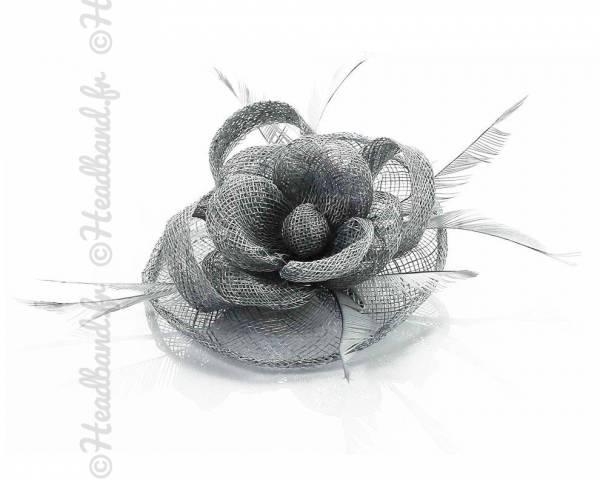 Barrette cocktail en sisal fleur grise