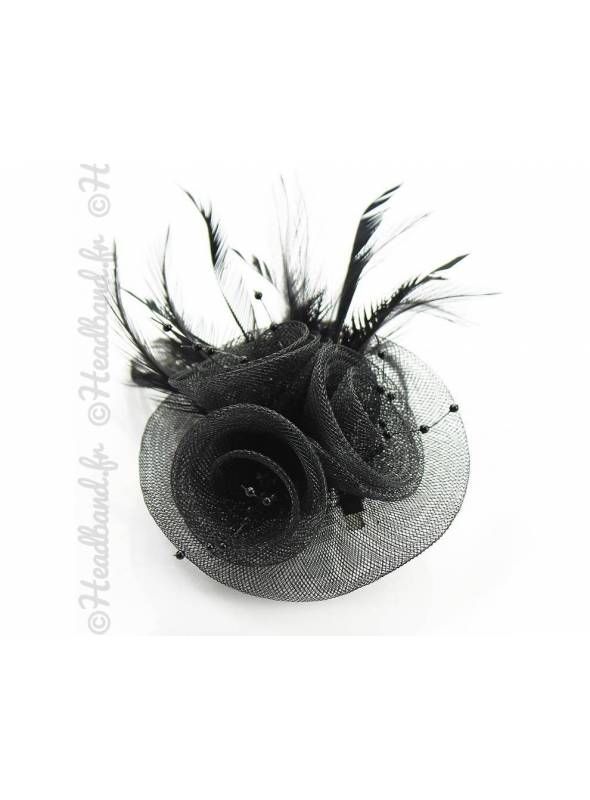 Bibi tulle noir plumes et perles