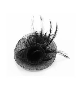 Coiffe barrette en tulle noir