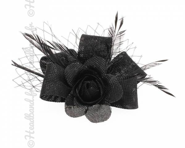 Petit bibi sisal noir fleur avec voilette