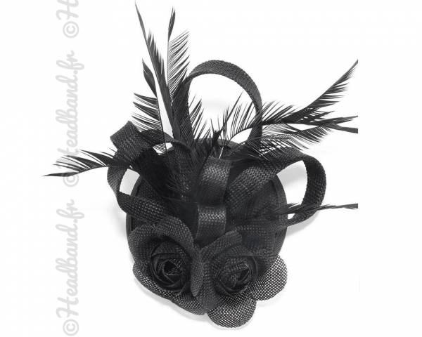 Chapeau bibi double fleur noir
