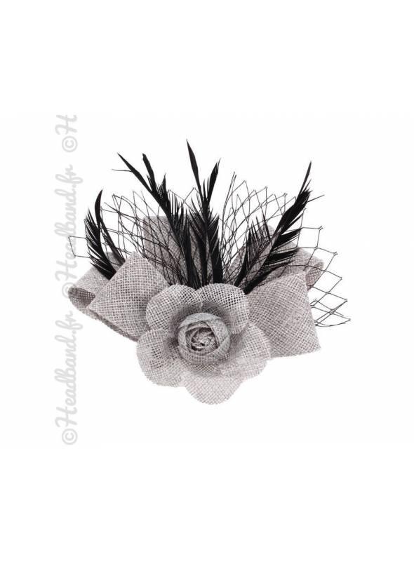 Petit bibi sisal gris fleur avec voilette