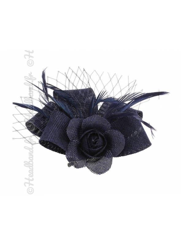 Petit bibi sisal bleu fleur avec voilette