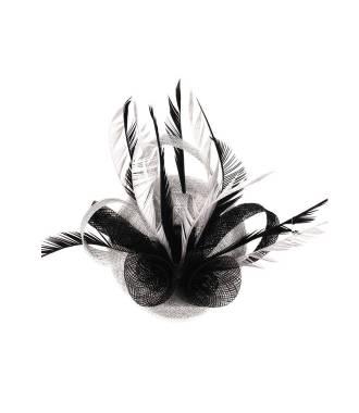 Coiffe bicolore en sisal gris et noir