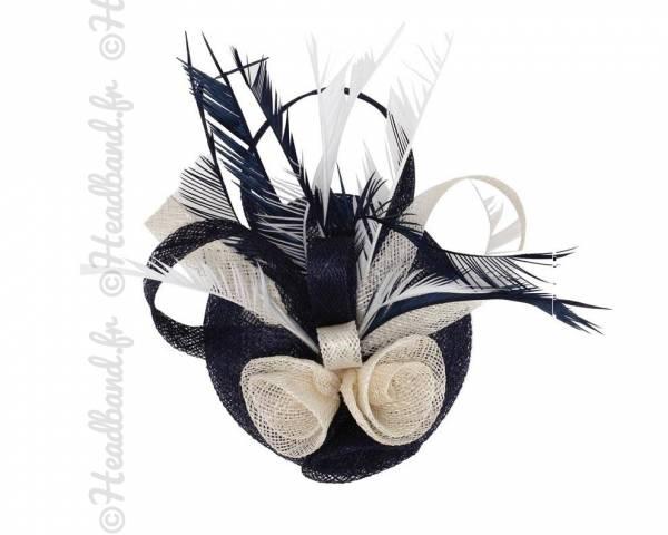 Coiffe bicolore en sisal noir et crème