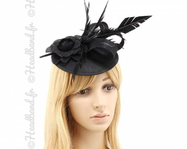Chapeau mariage fleur et plume noir