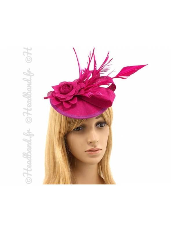 Chapeau mariage fleur et plume rose fushia