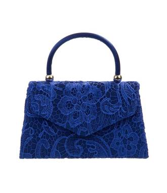 Petit sac cérémonie avec anse dentelle bleu roi