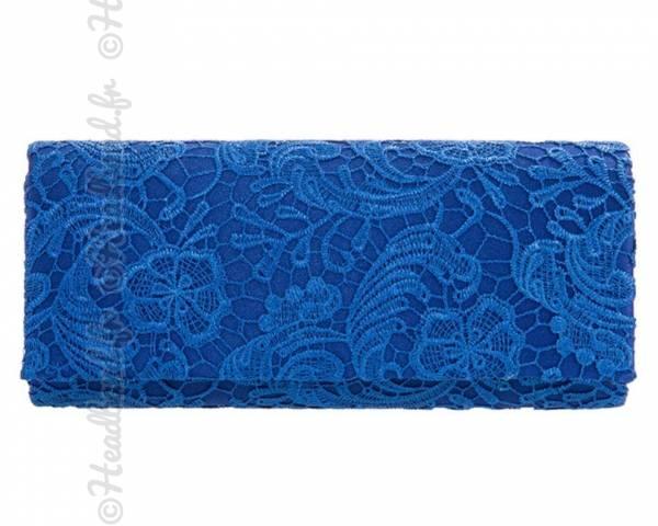 Pochette mariage dentelle bleu roi