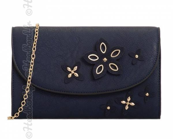Pochette mariage imitation cuir avec fleurs bleue
