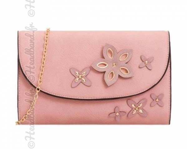 Pochette mariage imitation cuir avec fleurs rose