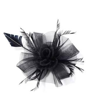 Grande coiffe en tulle mariage noire