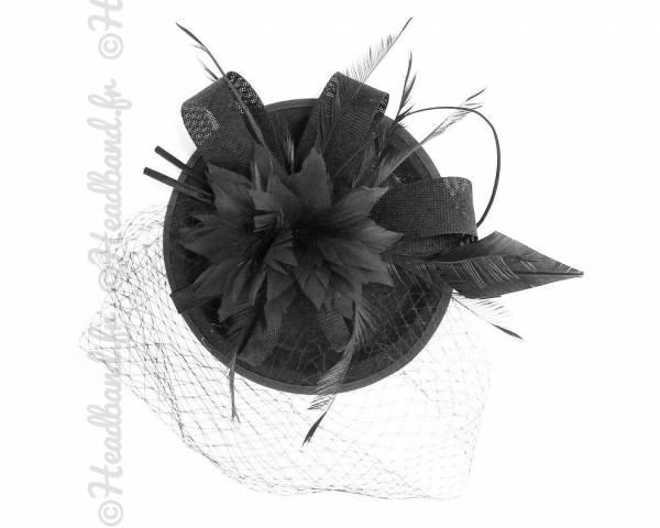 Chapeau gala noir à voilette