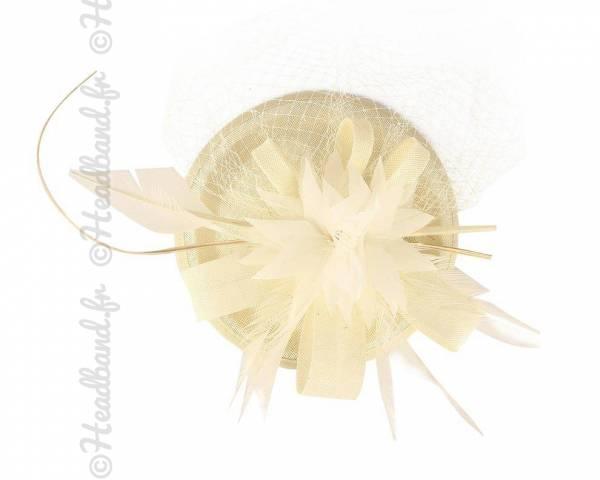 Chapeau gala ivoire à voilette