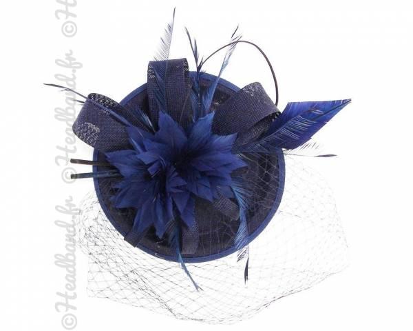 Chapeau gala bleu à voilette