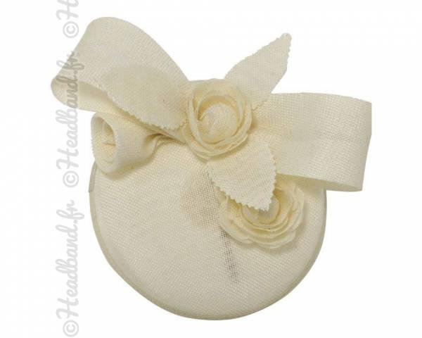 Chapeau cocktail ivoire fleur en sisal