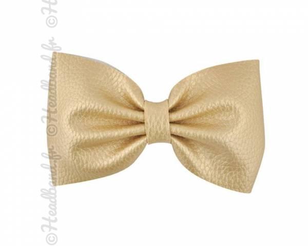 Grande barrette simili cuir dorée