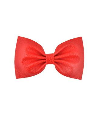 Grande barrette simili cuir rouge