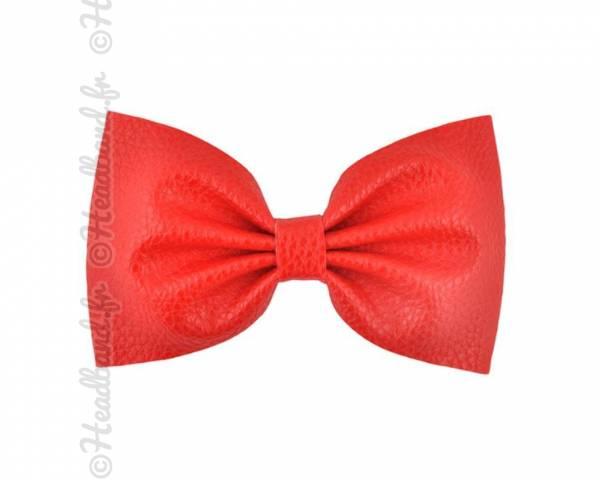 Grande barrette simili cuir rouge