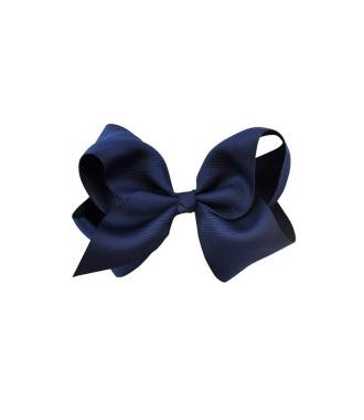Barrette tissu noeud ruban bleu marine