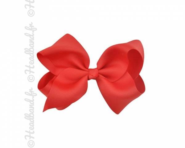 Barrette tissu noeud ruban rouge