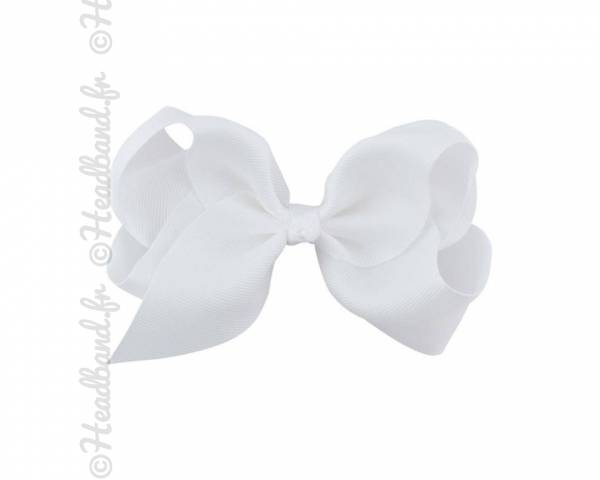 Barrette tissu noeud ruban blanc