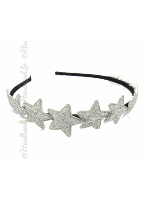 Serre-tête couronne étoiles glitter argenté