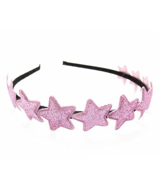 Serre-tête couronne étoiles glitter rose