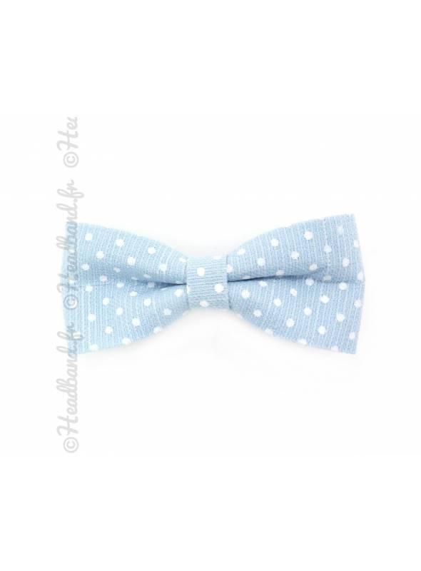 Barrettes noeud polka dot bleue