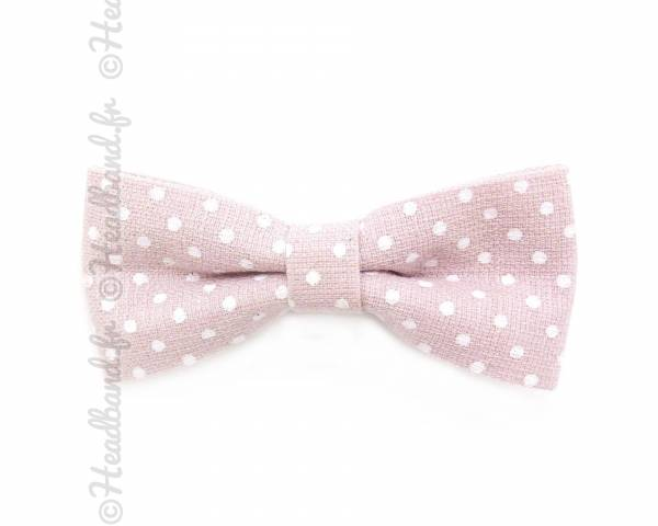 Barrette noeud polka dot rose