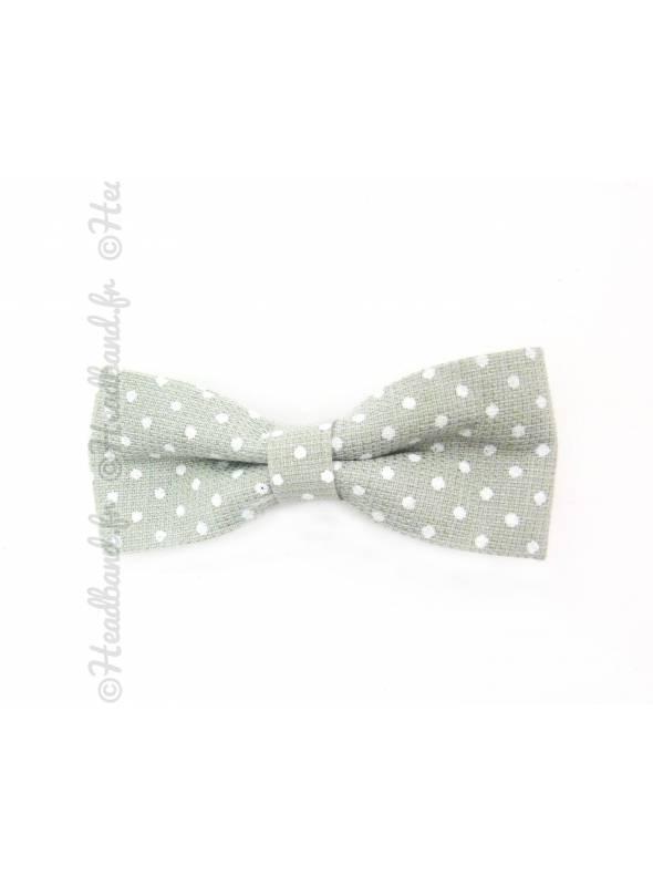 Barrettes noeud polka dot vert clair