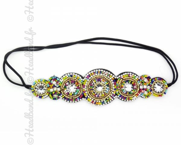 Bandeau applique perles multicolores