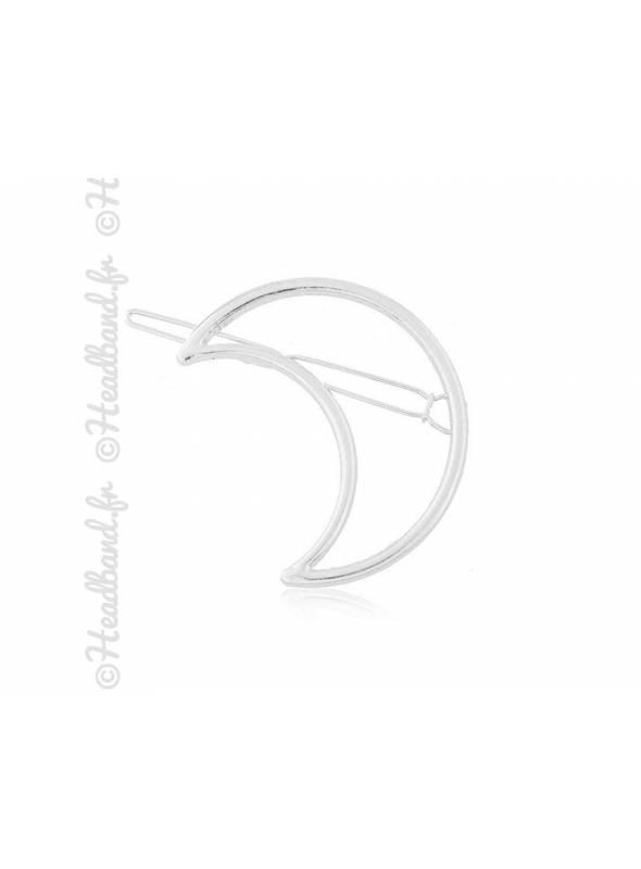 Barrette métal argenté motif lune
