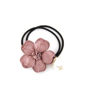 Elastique fleur et perle rose