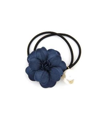 Elastique fleur et perle bleu
