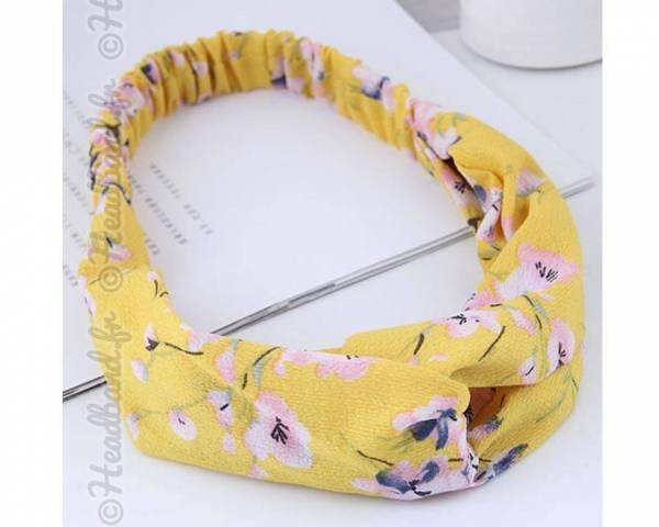 Bandeau croisé motifs fleurs cerisiers jaune
