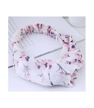 Bandeau croisé motifs fleurs cerisiers rose