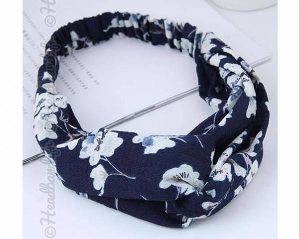 Bandeau mousseline imprimé fleurs marine