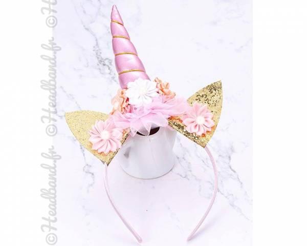 Serre-tête pointe licorne rose avec fleurs
