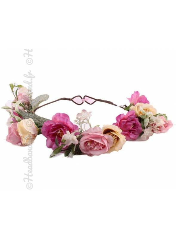 Couronne fleurie rose