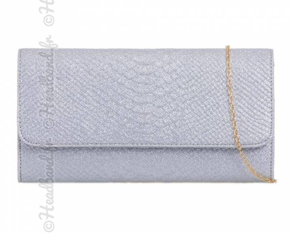 Pochette baguette glitter effet serpent argenté