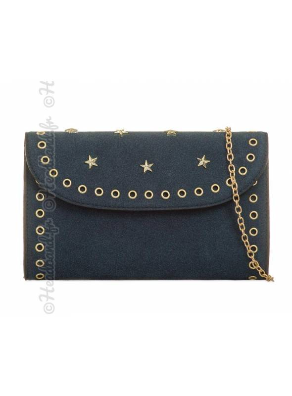 Pochette army rivet clous étoiles bleu