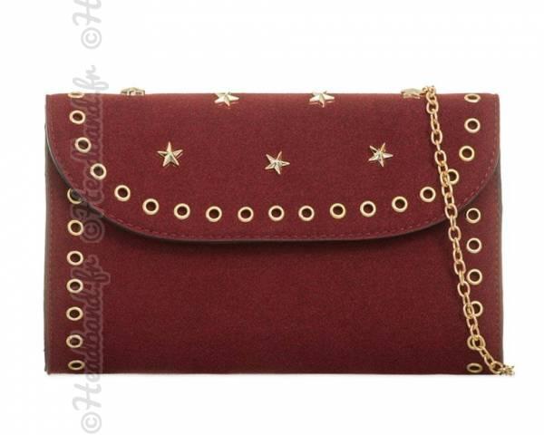 Pochette army rivet clous étoiles bordeaux