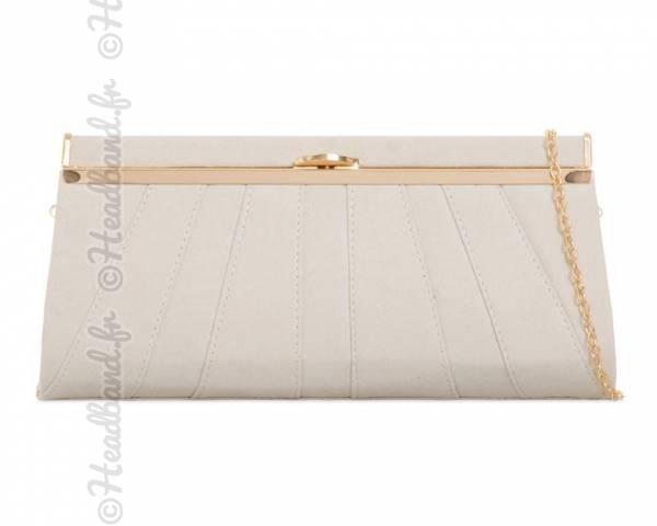 Pochette effet plissé simili daim ivoire