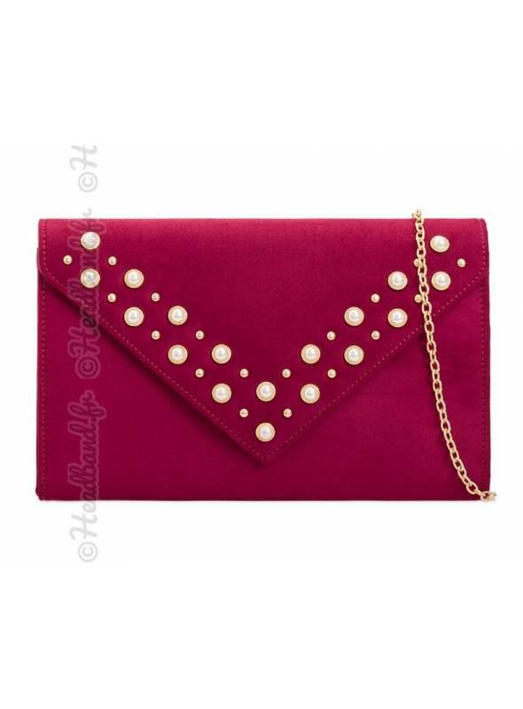Pochette enveloppe bordeaux stud perles nacrées