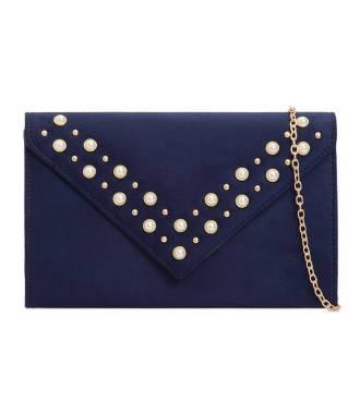 Pochette enveloppe marine stud perles nacrées