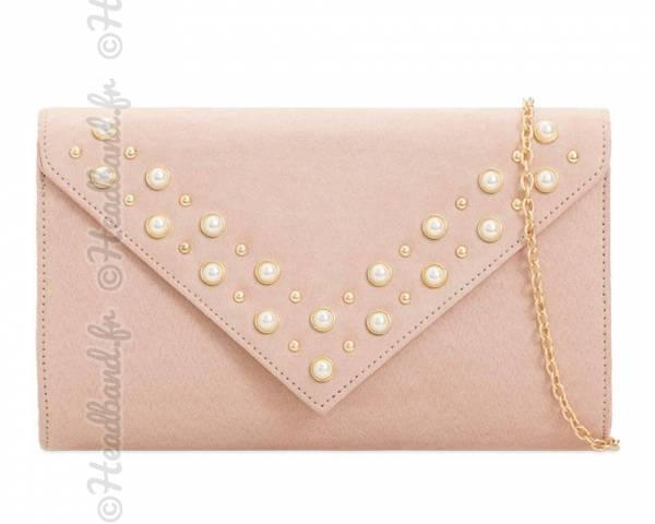 Pochette enveloppe nude stud perles nacrées