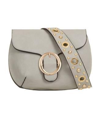 Sac gris en cuir avec bandoulière clous en métal doré
